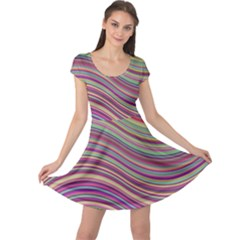 Wave Abstract Happy Background Cap Sleeve Dress