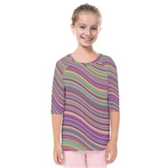 Wave Abstract Happy Background Kids  Quarter Sleeve Raglan Tee
