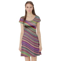 Wave Abstract Happy Background Short Sleeve Skater Dress