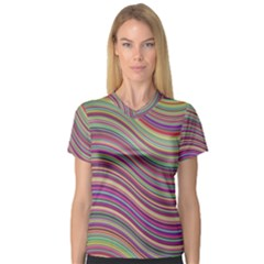Wave Abstract Happy Background V-Neck Sport Mesh Tee