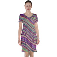 Wave Abstract Happy Background Short Sleeve Nightdress