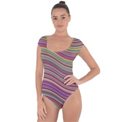 Wave Abstract Happy Background Short Sleeve Leotard
