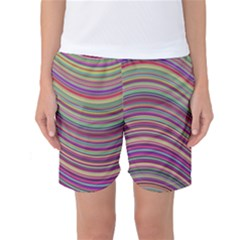 Wave Abstract Happy Background Women s Basketball Shorts
