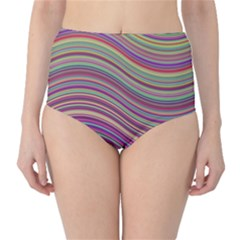 Wave Abstract Happy Background High-Waist Bikini Bottoms