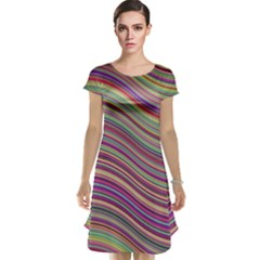 Wave Abstract Happy Background Cap Sleeve Nightdress