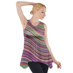 Wave Abstract Happy Background Side Drop Tank Tunic