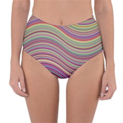 Wave Abstract Happy Background Reversible High-Waist Bikini Bottoms