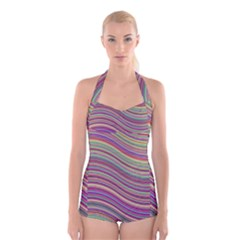 Wave Abstract Happy Background Boyleg Halter Swimsuit