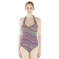 Wave Abstract Happy Background Halter Swimsuit