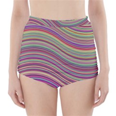 Wave Abstract Happy Background High-Waisted Bikini Bottoms