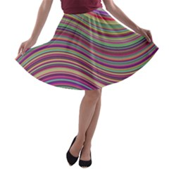 Wave Abstract Happy Background A-line Skater Skirt