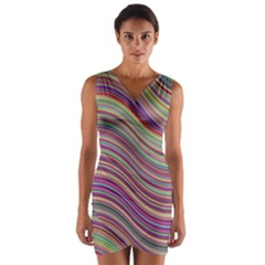Wave Abstract Happy Background Wrap Front Bodycon Dress