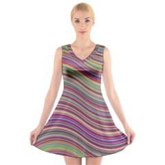 Wave Abstract Happy Background V-Neck Sleeveless Skater Dress