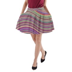 Wave Abstract Happy Background A-Line Pocket Skirt