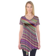 Wave Abstract Happy Background Short Sleeve Tunic