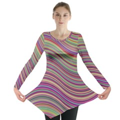 Wave Abstract Happy Background Long Sleeve Tunic