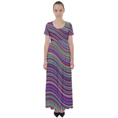 Wave Abstract Happy Background High Waist Short Sleeve Maxi Dress