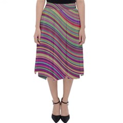 Wave Abstract Happy Background Folding Skater Skirt