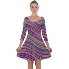 Wave Abstract Happy Background Quarter Sleeve Skater Dress