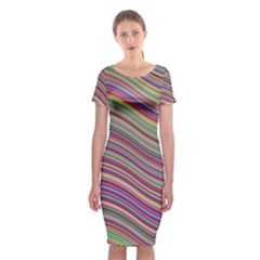 Wave Abstract Happy Background Classic Short Sleeve Midi Dress