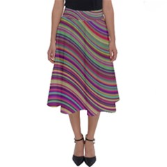 Wave Abstract Happy Background Perfect Length Midi Skirt