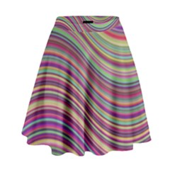 Wave Abstract Happy Background High Waist Skirt