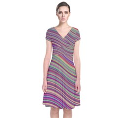 Wave Abstract Happy Background Short Sleeve Front Wrap Dress