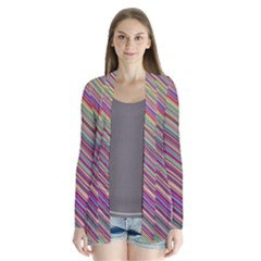 Wave Abstract Happy Background Drape Collar Cardigan