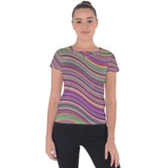 Wave Abstract Happy Background Short Sleeve Sports Top