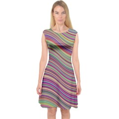 Wave Abstract Happy Background Capsleeve Midi Dress