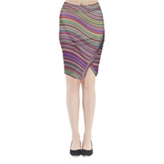 Wave Abstract Happy Background Midi Wrap Pencil Skirt