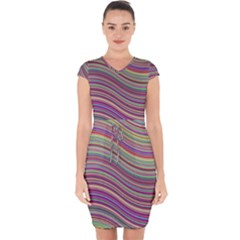 Wave Abstract Happy Background Capsleeve Drawstring Dress