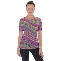 Wave Abstract Happy Background Short Sleeve Top