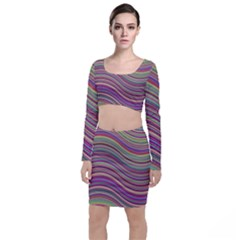 Wave Abstract Happy Background Long Sleeve Crop Top & Bodycon Skirt Set