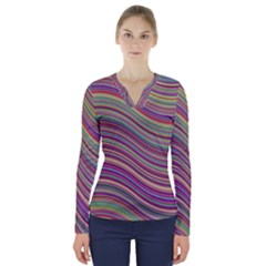 Wave Abstract Happy Background V-Neck Long Sleeve Top