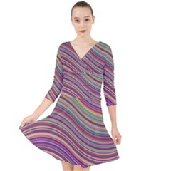 Wave Abstract Happy Background Quarter Sleeve Front Wrap Dress