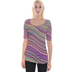Wave Abstract Happy Background Wide Neckline Tee