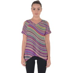 Wave Abstract Happy Background Cut Out Side Drop Tee