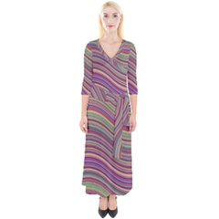 Wave Abstract Happy Background Quarter Sleeve Wrap Maxi Dress