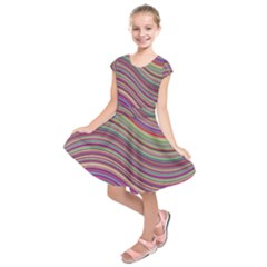 Wave Abstract Happy Background Kids  Short Sleeve Dress