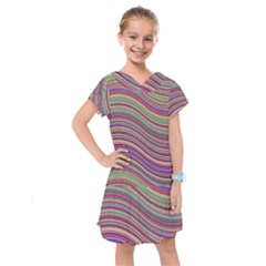 Wave Abstract Happy Background Kids  Drop Waist Dress