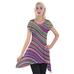 Wave Abstract Happy Background Short Sleeve Side Drop Tunic
