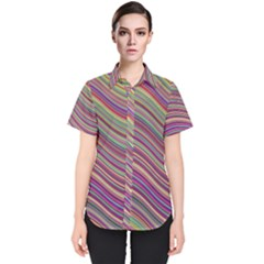 Wave Abstract Happy Background Women s Short Sleeve Shirt