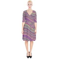 Wave Abstract Happy Background Wrap Up Cocktail Dress