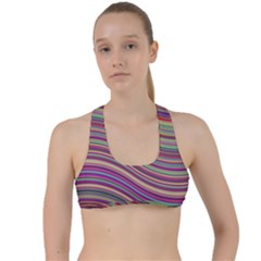 Wave Abstract Happy Background Criss Cross Racerback Sports Bra