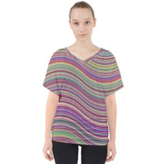 Wave Abstract Happy Background V-Neck Dolman Drape Top