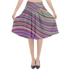 Wave Abstract Happy Background Flared Midi Skirt