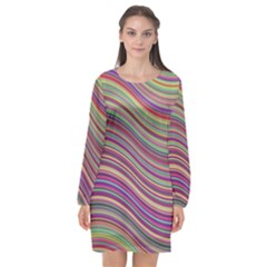 Wave Abstract Happy Background Long Sleeve Chiffon Shift Dress