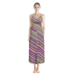 Wave Abstract Happy Background Button Up Chiffon Maxi Dress