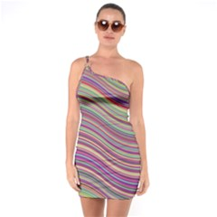 Wave Abstract Happy Background One Soulder Bodycon Dress
